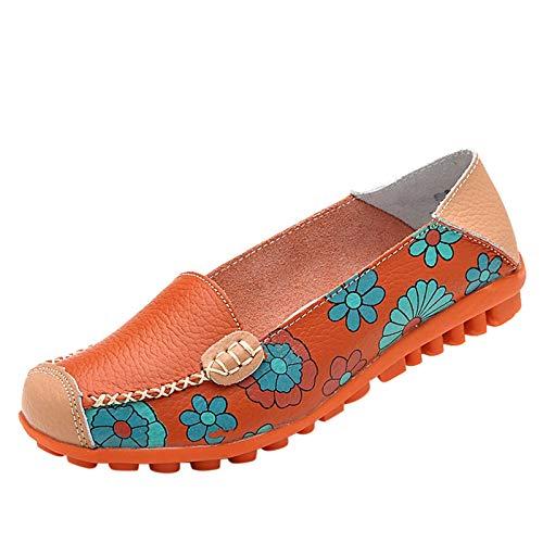DAIFINEY Damen Mokassin Slipper Loafers Drucken Comfort Schuhe Hüttenschuhe Schlupfschuh Slip on modisch Freizeitschuh Bequeme Flache(2-Orange/Orange,40)