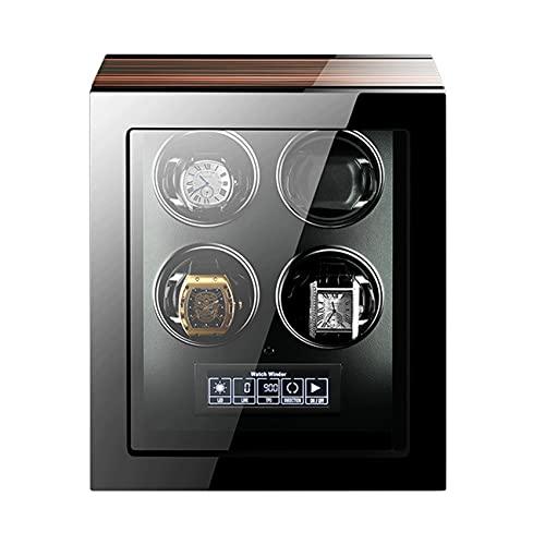 ANTLSZH Reloj Winder para 4 Relojes con Motores Silenciosos, Almohada De Reloj Ajustable, Pantalla LCD