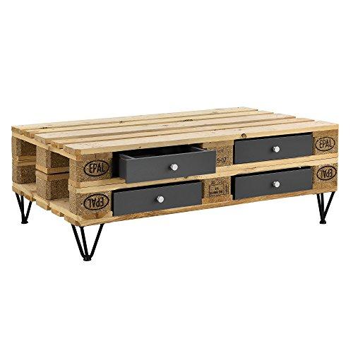 [en.casa] Schublade für Europaletten Grau Perfekt Integrierbar mit Führungsschienen und Befestigung Palettenmöbel