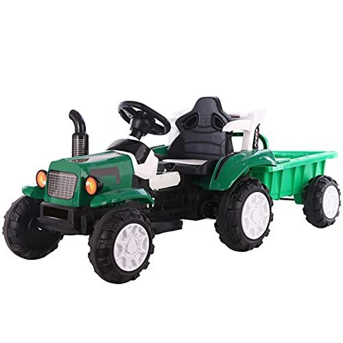 LTLGHY Trator Elétrico Com Reboque, Veículo Elétrico para Crianças con Music Y Porta USB Faróis LED Veículo De Construção Brinquedo para Crianças Entre 3-6 Anos,Verde