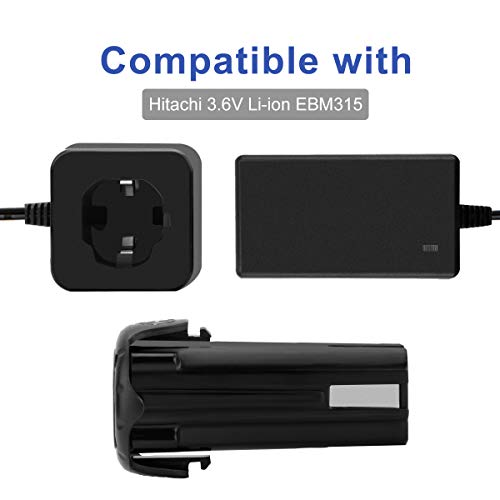 Exmate 3.6V Lithium-Ion Battery Charger Compatible with Hitachi EBM315 326263 326299 DB3DL DB3DL2 Pod Style Battery