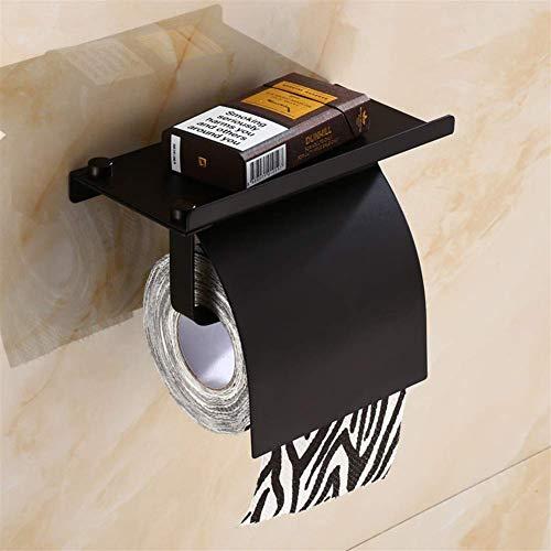 JSMY Soporte para Papel higiénico montado en la Pared con Estante y Tapa SUS304 Dispensador de Acero Inoxidable Soporte para Rollo de Papel tisú para Almacenamiento en el baño (Color:Negro)