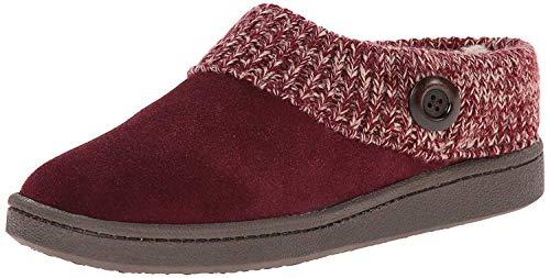 Clarks Women's Knit Scuff Slipper, Berry, 6 M US