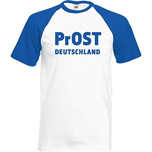 Prost Deutschland Baseball T-Shirt Weiss-Blau (Blau, XXL)