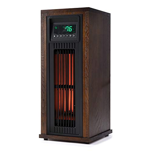 Lifesmart HT1216 23 Inch High 1500 Watt Electric Large Room Infrared Tower Space Heater with Thermostat, Eco-Friendly Mode, and Remote Control Heater Infrared Space