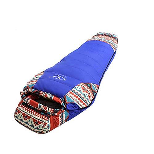 Sac de Couchage en Duvet pour Adulte, Sac de Couchage pour Camping en Plein air, Sac de Couchage Chaud pour Camping (Color : Blue)