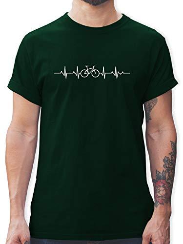 Andere Fahrzeuge - Herzschlag Fahrrad - XXL - Dunkelgrün - Shirt Fahrrad Herren Motiv - L190 - Tshirt Herren und Männer T-Shirts