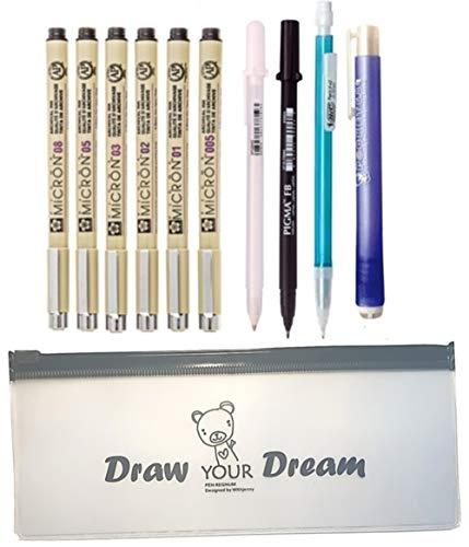Sakura Pigma 30062 Pen Set, Manga Gelly Roll White, Brush Pen Black, BIC Mechanical Pencil 0.5mm, Stick Eraser With Pen Pouch