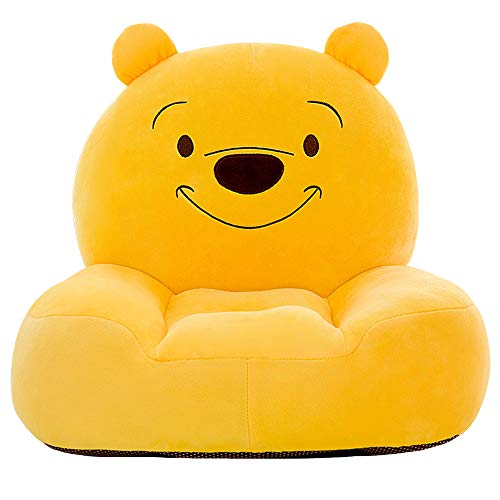 CTEJ Children's Winnie the Pooh foldable sofa children's plush sponge armrest sofa bed toy lazy sofa seat children's chair,Brown,50cm