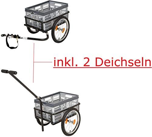 """P4B Transportanhänger mit 16\"""" Luftbereifung, inkl. 2 Deichseln, schwarz, mit Klappbox (ca. 45 Liter) Transport-Anhänger 16\'\' Luftbereift inklusive Kupplung Zoll"""