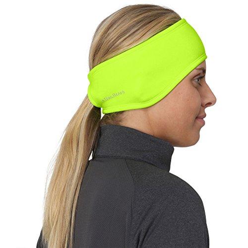 TrailHeads Women's Ponytail Headband | Moisture Wicking Ear Band | The Power Running Headband - hi vis