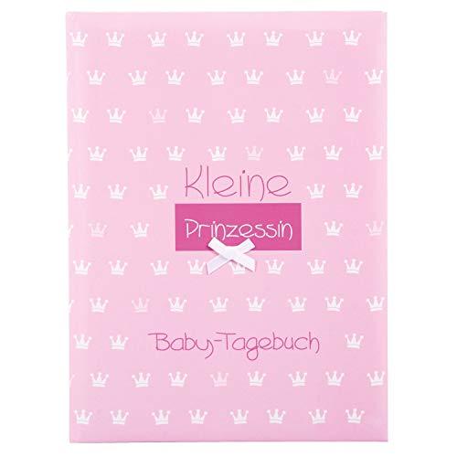 goldbuch 11087 Babytagebuch Kleine Prinzessin, 21 x 28 cm, Tagebuch für Neugeborene, Baby Erinnerungsalbum mit 44 illustrierte Seiten, Einband mit Kunstdruck mit Relieflack und Accessoires, Rosa