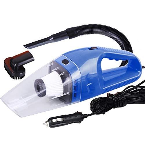 QiKun-Home Mini portátil 12V 120W de Potencia, húmedo y seco, de Doble Uso, súper succión, aspiradora de Mano para automóvil, Filtro HEPA Desmontable, Azul