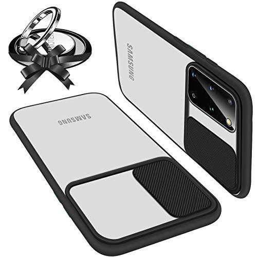 Hülle kameraschutz kompatibel Mit Samsung Galaxy S20 Plus Weich Kanten stoßfeste Anti-Scratch Hülle Matte Transparent Kamera Schutz Handyhülle Slide Kameraschutz Mit 360 Grad Ring Ständer (Schwarz)