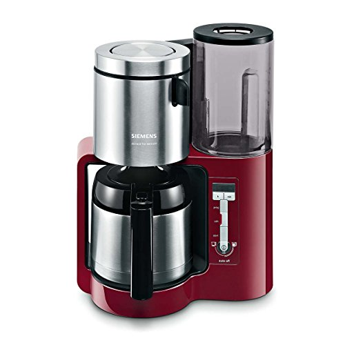 Siemens TC80104 - Cafetera de goteo (1160 W, 8-12 tazas), color rojo y plateado