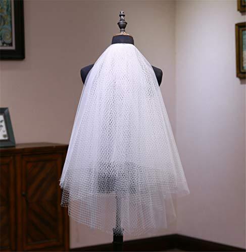 Elegance-Z bruiloftssluier, eenvoudige manier van wijskwaliteitrooster, korte hak voor fotofeesten, prinsessen, 2 lagen sluier.
