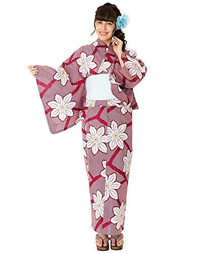Damen-Yukata von Kyoetsu, Retro-Set, 4-teilig (Yukata / Obi / Geta-Sandale / Unterwäsche) - Rot - Einheitsgröße