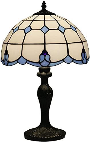 LCJD Lámpara de Mesa Europea de Estilo mediterráneo de 12 Pulgadas, lámpara de Dormitorio de Estilo Tiffany, luz de cabecera de Vidrio Manchado para Restaurante, Bar, cafetería, E27