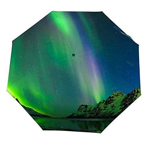 Paraguas anti-UV para sol/lluvia,Las luces polares en Noruega. Ersfjord Tromso A prueba de viento Paraguas de viaje a prueba de viento: compacto, automático.