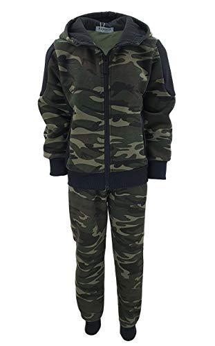 Fashion Boy Jungen Army Sweatanzug Tarn Freizeitanzug in Grün Camouflage, Gr. 128-134, JF280.10