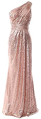 MACloth Women Bridesmaid Dresses One Shoulder Sequin Long Formal Gown Bridal (US26w, Rose Gold)
