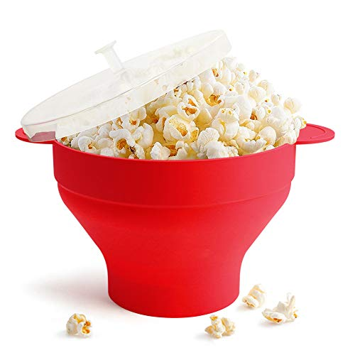Save %35 Now! Microwave Popcorn Popper, HIPPIH Silicone Popcorn Maker, Collapsible Popcorn Bowl With Lid Handles for Homemade Popcorn-Light, Microwave Popcorn Maker for Home and Party, Red