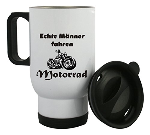 """Thermobecher aus Edelstahl mit Motiv \"""" Echte Männer fahren Motorrad \"""" auch mit Kundenwunsch bedrucken, Kaffeebecher, Edelstahlbecher"""