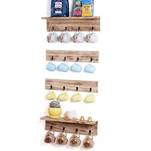 TRSPCWR Wooden Coffee Mug Holder Wall Mounted Set of 4 16 Hooks Coffee Cup Holder Coffee Station Utnesils Hooks Hanger DIY Floating Shelves for Kitchen Living Room Bedroom
