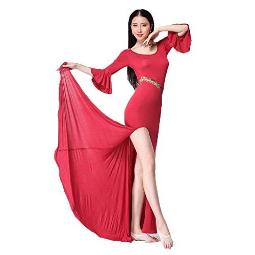 APcjerp Traje de danza del vientre para mujer, vestido sexy de verano y otoo, disfraz de falda larga para principiantes (color: Jujube, talla: L)