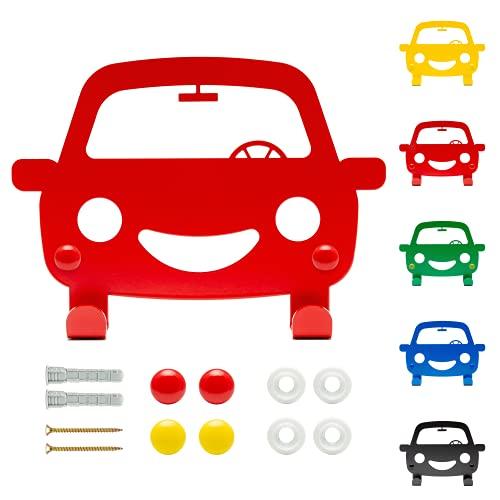 DEKOKRAFT - Happy Car Kindergarderobe mit Auto Motiv - 5 FARBEN - [inkl. Zubehör] - Garderobenhaken - Garderobe mit 2 Haken - Kinder Kleiderhaken – Kinderzimmer Wand Kinderhaken - Wandhaken
