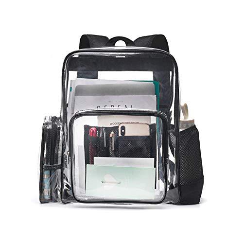 SPEEDEVE Clear Backpack Waterproof Transparent Daypack for School Work Travel,Black