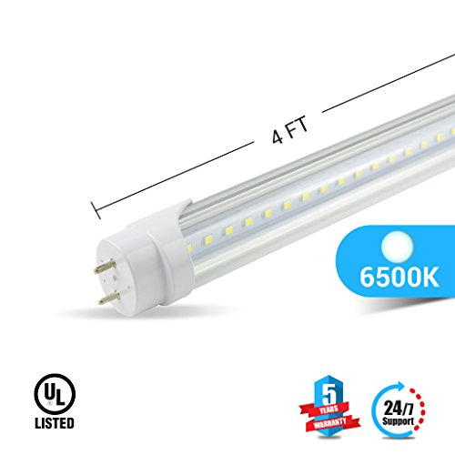 Ballast Compatible T8 4ft led Tube 20w 3000 lumens 6500K Clear Cover 4-Pack