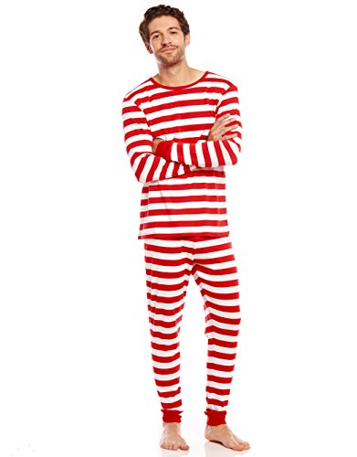 Leveret Mens Pajamas Fitted Striped Christmas 2 Piece Pjs Set 100% Cotton Sleep Pants (Red/White Size Large)