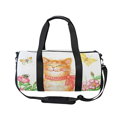 TropicalLife RELEESSS Sports Gym Bag Watercolor Cat Floral Lightweight Travel Duffel Bag Holdall Bag Multipurpose Use for Men Women