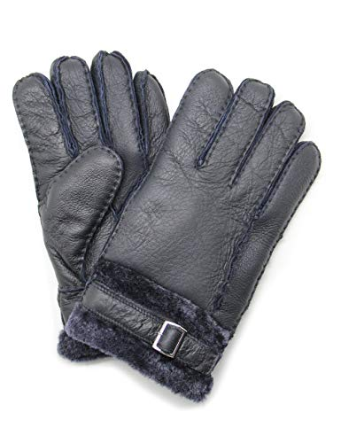 YISEVEN Herren Lederhandschuhe Winter Gefüttert mite Lammfell Geschenk, Navy blau M