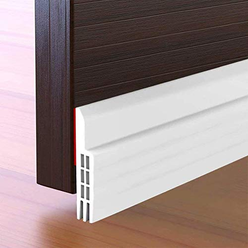 Suptikes Door Draft Stopper Under Door Seal for Exterior/Interior Doors, Strong Adhesive Door Sweep Soundproof Weather Stripping, 2' W x 39' L, White