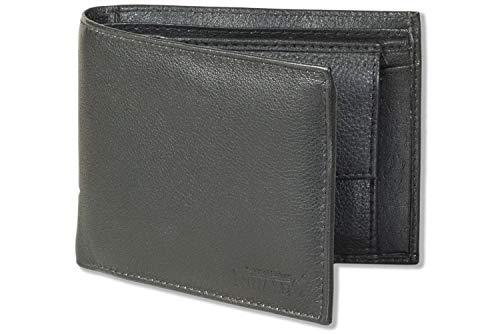 """Rinaldo"""" barra horizontal bolsa de piel de cabritilla suave con piso de cuero completo en el bolsillo monedero en negro"""