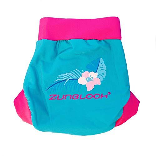 Zunblock - Pannolino da nuoto o da bagno con protezione UV UPF 50+ (blu petrolo/rosa) (3-6 mesi)