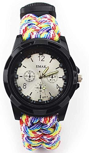 Outdoor Adventure Reloj multifunción Seven Core Umbrella Rope Militar Brújula silbato, termómetro impermeable, reloj deportivo regalo para los amantes del aire libre, rojo y arcoíris