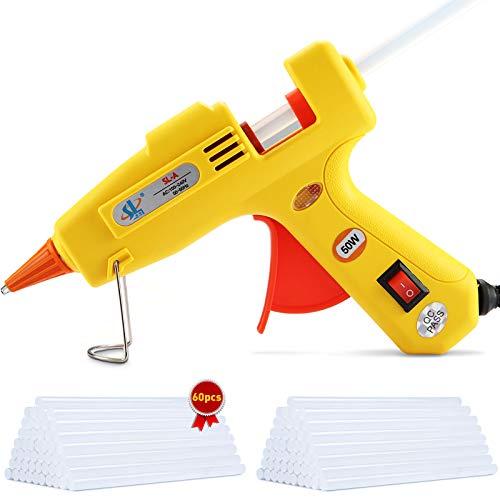 MOOING Pistola Colla a Caldo 50W,Pistola Incollatrice con 60 Pezzi stick di Colla(160mm),Glue Gun con Anti-drip,Riscaldamento Rapido,Perfetto per Bricolage Arti,Riparazioni Domestiche, Ufficio
