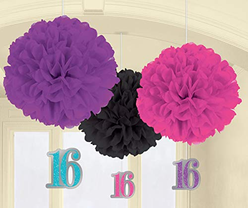 Amscan Sweet 16 Papier Fluffy Danglers Decoraties
