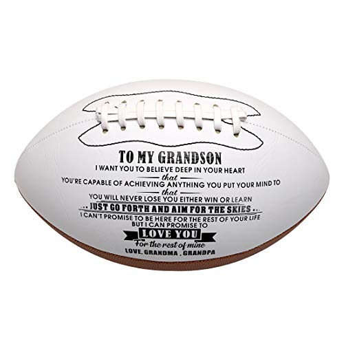 wompolle to My Grandson Love You from Engraved American Football Gift for Your Son Anniversary Birthday Christams Graduation Gift to Fan Quote Grandma Grandpa (Love Grandma Grandpa)