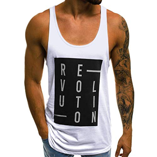 Lurcardo Herren T-Shirt Weste - Männer Herren Sommer Rundhals Brief Drucken Weste T Shirt Tee Hemd Casual Muscle Basic Sports Shirt Slim Fit T-Shirt Tanktops Tank Top Tops T-Shirts Hemden für Herren