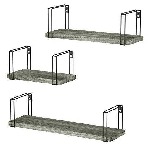 SRIWATANA Juego de 3 estantes colgantes de madera en forma de U, ideales para salón, dormitorio, pasillo, cuarto de baño, longitud 43/33/23 cm (gris desgastado)