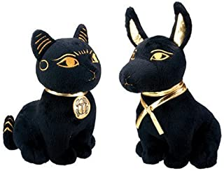 Bundle Deal.Large Size Egyptian Plush Black & Golden Bastet Cat & Anubis Stuffed Animal.Soft Cuddly