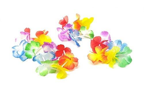 Hawaiani - Juego de 24 pulseras de flores artificiales para fiestas
