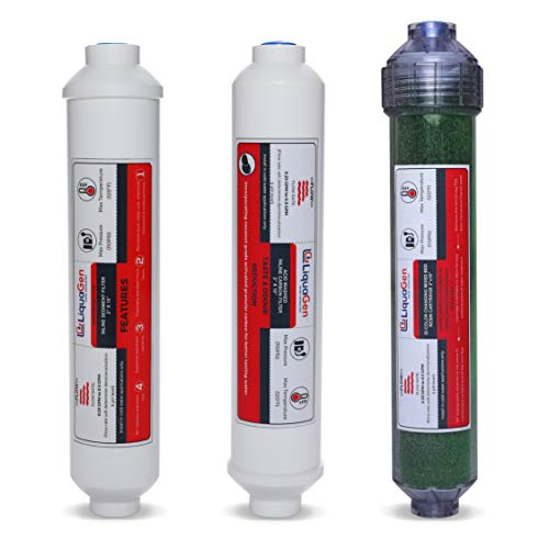 LiquaGen - Yearly Replacement RO/DI Water Filter Kit for 4 Stage Portable Space Saver Series (Inline Sediment, Inline Delotus Carbon, Inline DI) for Reverse Osmosis/Aquarium Reef Processes