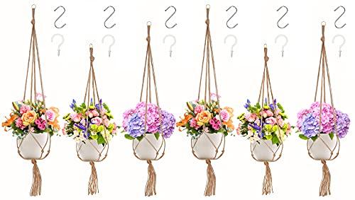 EONAZE Makramee Blumenampel, Boho Blumentopf Hängend Baumwollseil Hängeampel Pflanzenhalter, Pflanzen Halter Aufhänger für Innen Außen Garten Decken Balkone Wanddekoration (E-6er/Set)