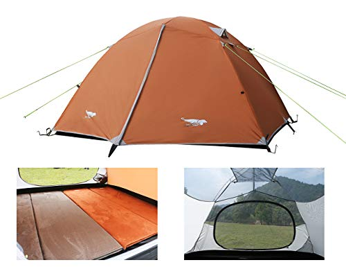 Luxe Tempo Lightweight 4 Person Tent for Backpacking Family Camping 7.7 lbs with Ridge Pole Gear Loft Rip-Stop Fabric Aluminum Poles (Coral Sands-1)