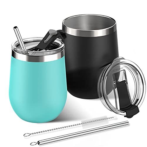 Sleebas Wine Tumbler with Tritan Flip Lid and Straw Set of 2 - Leak Proof, Easy to Hold - 12 Oz Vacuum Insulated Stainless Steel Wine Glass Hold Hot & Cold Drinks-Coffee Mug for Champagne Beer